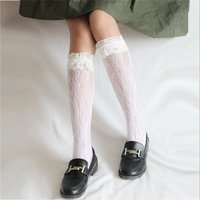 Fashionable Solid Lace Hollow Out Socks for Girl