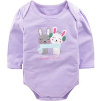 Lovely Rabbit Print Long-sleeve Bodysuit for Baby Girl