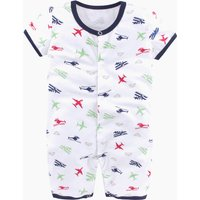 Stylish Plane Patterned Short-sleeve Jumpsuit in White for Baby Boy