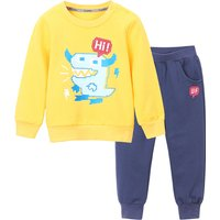Trendy Dinosaur Print Long-sleeve Top and Pants Set for Toddler Boy