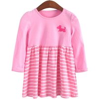 Cute Striped Dog Embroidery Long-sleeve Dress for Baby and Toddler Girl
