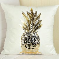 Stylish Gilding Pineapple Print Pillow Case ( no pillow core )