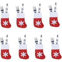 Stylish 8-piece Snow Applique Knife and Fork Bag