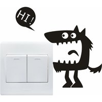 1 Pcs Funny Hi Monster Switch Wall Sticker
