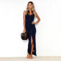 Chic Solid V Neck Split Strap Dress