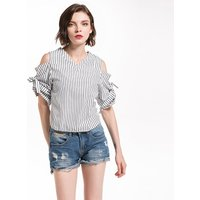 Sassy Cold Shoulder V-neck Blouse