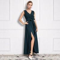Graceful Solid V Neck Sleeveless Maxi Dress