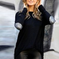 Chic Sequined Long-sleeve Top