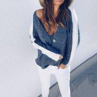 Charming V Neck Contrast Knitwear