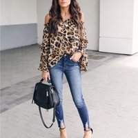 Chic Leopard Print Off Shoulder Top