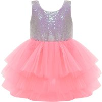 Sassy Color Blocked Sequined Backless Christmas Tulle Dress in Pink