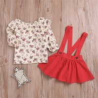 2-piece Sweet Floral Ruffled Long-sleeve Top and Suspender Skirt Set in Red