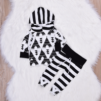 Casual Cartoon Graphic Patterned Hoodie and Striped Pants Set