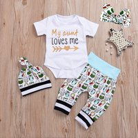 4-piece Casual Letter Print Bodysuit, Owl Patterned Pants, Hat and Headband Set