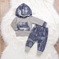 2-piece Casual Long-sleeve Hoodie and Pants Set for Baby