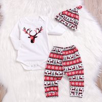 3-piece Stylish Deer Print Long-sleeve Bodysuit, Pants and Hat Set for Baby
