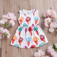 Fun Colorful Ice-cream Patterned Sleeveless Dress
