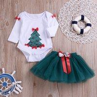 2-piece Stylish Christmas Tree Pattern Bow Decor Bodysuit and Solid Tull Skirt Set