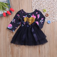 Fashionable Heart and Flower Patterned Splice Tulle Dress