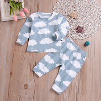 2-piece Casual Cloud Patterned Long-sleeve Top and Pants Set