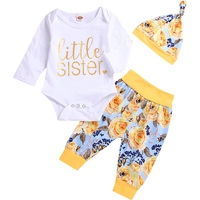 3-piece Casual Letter Print Bodysuit, Flower Patterned Pants and Hat Set