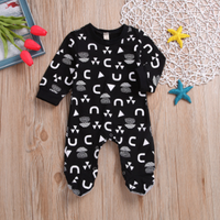 Stylish Digital Print Footed Long-sleeve Jumpsuit for Baby