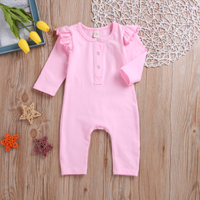 Fashionable Ruffled Solid Long-sleeve Jumpsuit for Baby