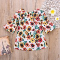 Fashionable Sunflower Print Flare-sleeve A-line Dress
