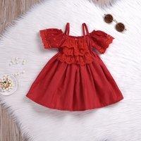 Stylish Lace Embroidery Decor Sling Off Shoulder Short-sleeve Dress