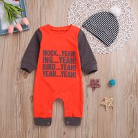 Stylish Letter Print Color Blocked Jumpsuit and hat for Baby