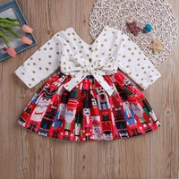 Trendy Cartoon Castle Guard Patterned and Polka Dots Allover Long-sleeve Dress
