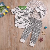 3-piece Stylish Dinosaur Short-sleeve Top, Striped Pants and Hat Set