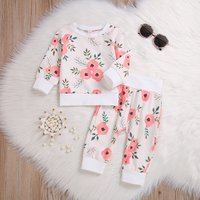 Fresh Floral Long-sleeve Pullover and Pants Set