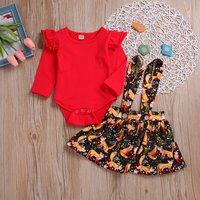 2-piece Stylish Flounce-sleeve Solid Bodysuit and Fox Patterned Suspender Dress Set