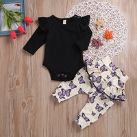 2-piece Lovely Solid Bodysuit and Butterfly Patterned Pants with Fake Skirt Set