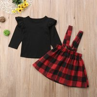 2-piece Stylish Solid Flounced Top and Plaid Suspender Dress Set