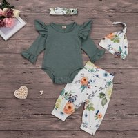 Trendy 4-piece Ruffle-sleeve Bodysuit, Allover Floral Pants, Headband and Hat Set
