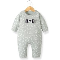 Sweet Bow Decor Print Stretchy Long-sleeve Jumpsuit for Baby