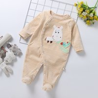 Casual Animal Embroidered Striped Footed Long-sleeve Jumpsuit for Baby