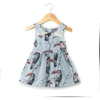 Stylish Bird Pattern Sleeveless Dress for Baby and Toddler Girl