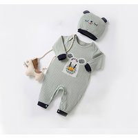 Adorable 3D Ear Bear Print Knitted Long-sleeve Jumpsuit and Hat for Baby