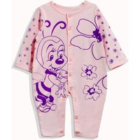 Comfy Cartoon Bee Print Long-sleeve Jumpsuit for Baby Girl