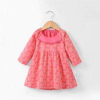 Lovely Floral Pompom Decor Long-sleeve Dress