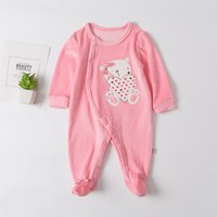 Comfy Bear Embroidered Bow Decor Velvet Footed Jumpsuit