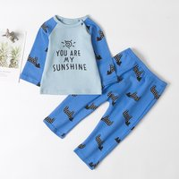"Casual ""You are my sunshine"" Dog Print Top and Pants for Baby and Toddler"