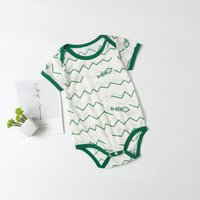 Adorable Allover Wave Fishbone Short-sleeve Bodysuit for Baby
