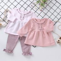 Soft Embroidered Top and Bow Knot Decor Dotted Pants Set
