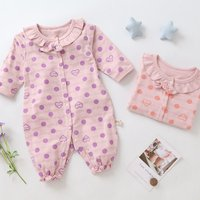 Sweet LOVE Dotted Flower Collar Ruffled Jumpsuit for Baby and Toddler Girls
