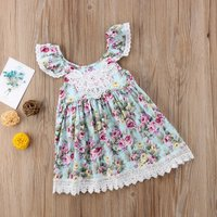 Stylish Floral Lace Backless Ruffle-sleeve Princess Dress for Toddler Girl and Girl