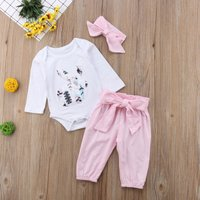3-piece Fashionable Rabbit Appliqued Long-sleeve Bodysuit, Pants and Headband for Baby Girl